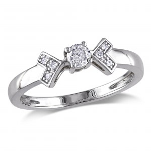 White Gold 1/5ct TDW Diamond Engagement Ring - Handcrafted By Name My Rings™