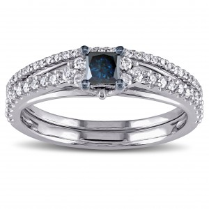 White Gold 3/5ct TDW Princess-cut Blue and White Diamond Bridal Ring Set - Handcrafted By Name My Rings™