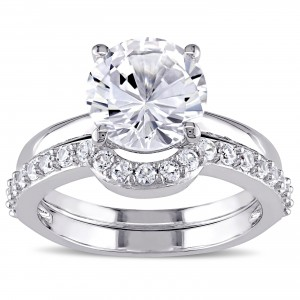 White Gold Created White Sapphire Solitaire Bridal Ring Set - Handcrafted By Name My Rings™