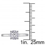 White Gold Created White Sapphire Solitaire Ring - Handcrafted By Name My Rings™