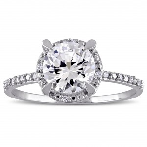 White Gold Created White Sapphire and Diamond Accent Halo Engagement Ring - Handcrafted By Name My Rings™