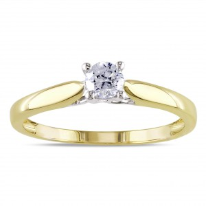 2-tone White and Gold 1/4ct TDW Diamond Solitaire Engagement Ring - Handcrafted By Name My Rings™
