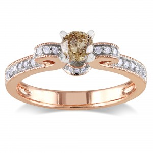 Rose Gold 1/2ct TDW Brown and White Diamond Ring - Handcrafted By Name My Rings™