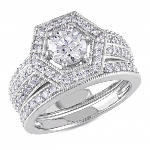 White Gold 1 1/2ct TDW Diamond Bridal Ring Set - Handcrafted By Name My Rings™
