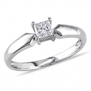 White Gold 1/3ct TDW Princess-cut Diamond Solitaire Ring - Handcrafted By Name My Rings™