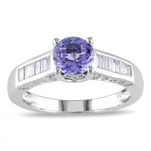 White Gold Tanzanite and 1/2ct TDW Diamond Ring - Handcrafted By Name My Rings™