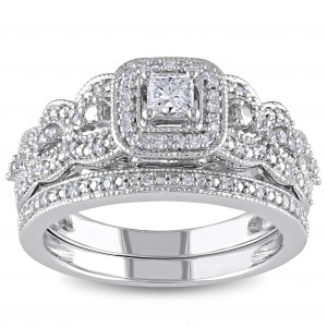 Signature White Gold 1/2ct TDW Diamond Halo Bridal Ring Set - Handcrafted By Name My Rings™