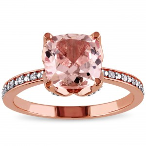 Signature Collection Rose Gold Morganite and Diamond Accent Engagement Ring - Handcrafted By Name My Rings™