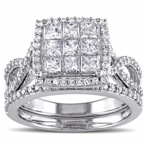 Signature Collection White Gold 1 1/ 2ct TDW Diamond Bridal Ring Set - Handcrafted By Name My Rings™