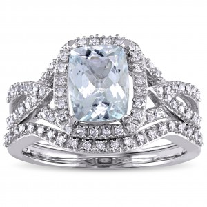 Signature Collection White Gold Aquamarine 1/4ct TDW Diamond Bridal Set - Handcrafted By Name My Rings™
