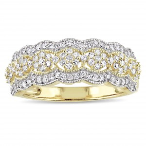 Signature Collection Gold 1/2ct TDW Diamond Milgrain Detail Anniversary Ring - Handcrafted By Name My Rings™
