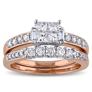 Signature Collection Rose Gold 1ct TDW Diamond Bridal Ring Set - Handcrafted By Name My Rings™