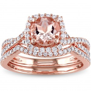 Signature Collection Rose Gold Morganite 3/4ct TDW Diamond Halo Bridal Ring Set - Handcrafted By Name My Rings™