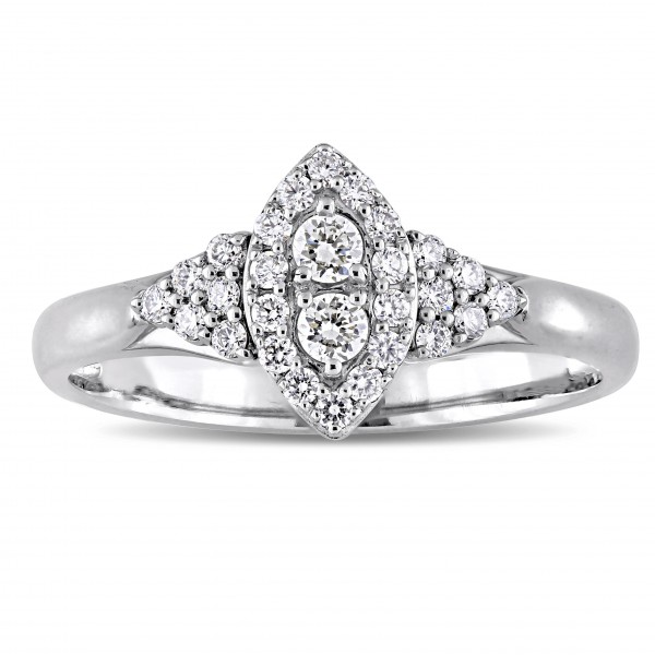 Signature Collection White Gold 1/3ct TDW Diamond Marquise-Cluster Engagement Ring - Handcrafted By Name My Rings™