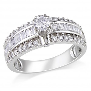 Signature Collection White Gold 1ct TDW Baguette Cut Diamond Ring - Handcrafted By Name My Rings™