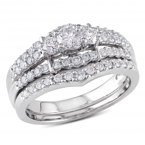 Signature Collection White Gold 1ct Tdw Round Diamond Wedding Ring Set Handcrafted By Name My Rings