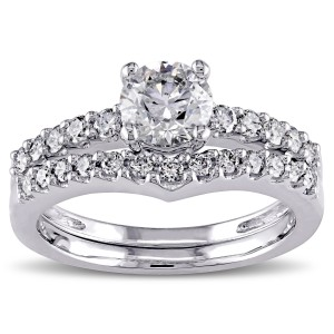 Signature Collection White Gold 7/8ct TDW Diamond Bridal Ring Set - Handcrafted By Name My Rings™