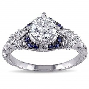 Signature Collection White Gold Sapphire and 1 1/10ct TDW Diamond Engagement Ring - Handcrafted By Name My Rings™