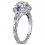 Signature Collection White Gold Sapphire and 1 1/4ct TDW Diamond Engagement Ring - Handcrafted By Name My Rings™