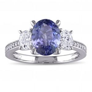 Signature Collection White Gold Tanzanite and 5/8ct TDW Oval and Round Diamond Engagement Ring - Handcrafted By Name My Rings™