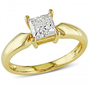 Signature Collection Gold 1ct TDW Princess-cut Diamond Solitaire Engagement Ring- Handcrafted By Name My Rings™