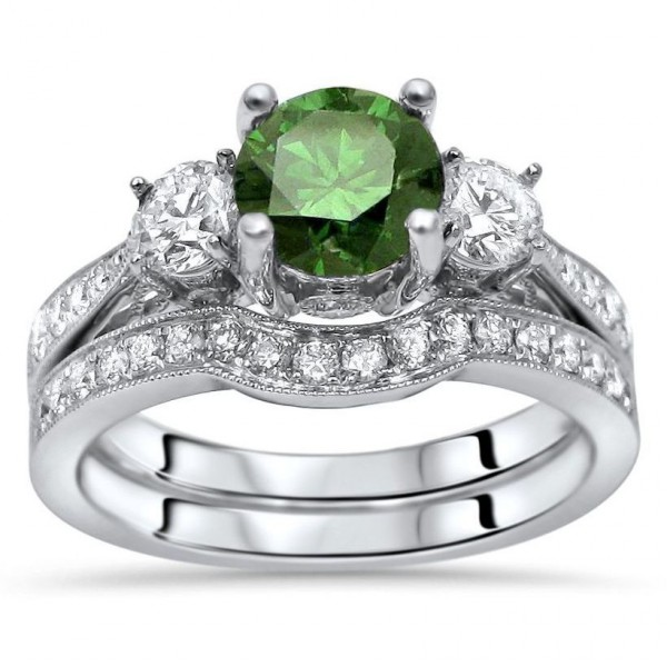 1 2ct Green Round Diamond 3 Stone Engagement Ring Bridal Set White Gold Handcrafted By Name My Rings
