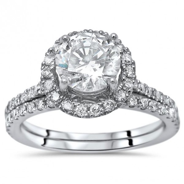 1 5 6ct Tgw Round Moissanite Diamond Engagement Ring Bridal Set White Gold Handcrafted By Name My Rings
