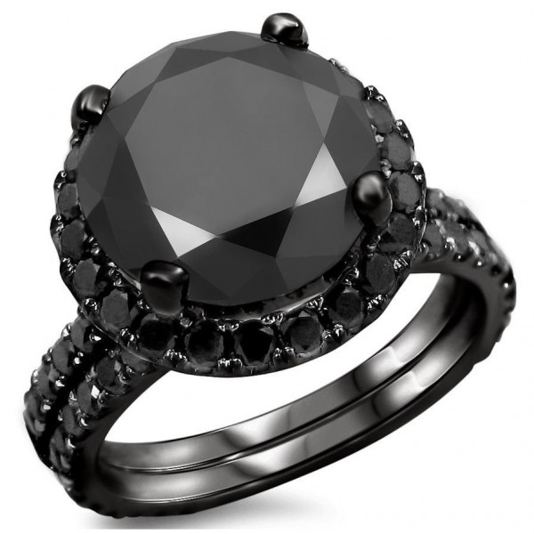 Black Gold 4ct Tdw Diamond Engagement Ring Bridal Set Handcrafted By Name My Rings