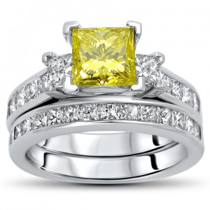 Gold 2 1/2ct TDW Yellow Princess-cut Diamond Bridal Set - Handcrafted By Name My Rings™