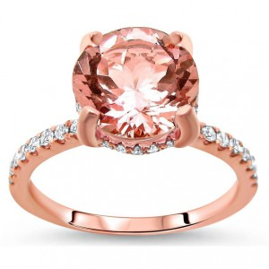Rose Gold 1 9/10ct TGW Round-cut Morganite and Diamond Engagement Ring - Handcrafted By Name My Rings™