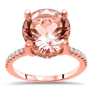 Rose Gold Morganite and 1/3ct TDW Diamond Engagement Ring - Handcrafted By Name My Rings™