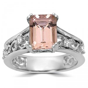 White Gold 1 3/4ct TGW Emerald-cut Morganite and 1/6ct TDW Diamond Engagement Ring - Handcrafted By Name My Rings™