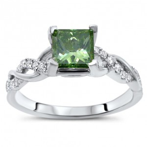 White Gold 1ct TDW Green Princess Cut Diamond Engagement Ring - Handcrafted By Name My Rings™