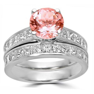 White Gold 3 1/3ct TGW Round-cut Morganite Diamond Engagement Ring Bridal Set - Handcrafted By Name My Rings™