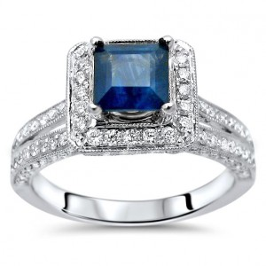 White Gold Blue Sapphire and 3/4ct TDW Diamond Engagement Ring - Handcrafted By Name My Rings™