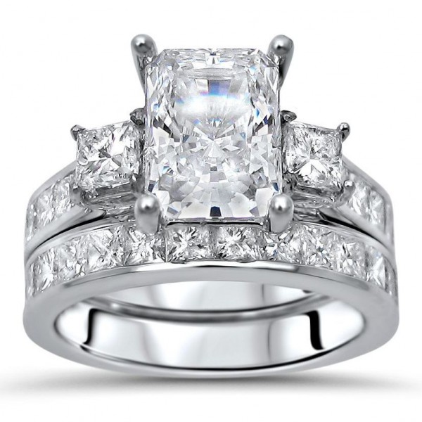 White Gold Moissanite And 1 3/5ct TDW Diamond Engagement Ring Set    Handcrafted By Name My Rings™