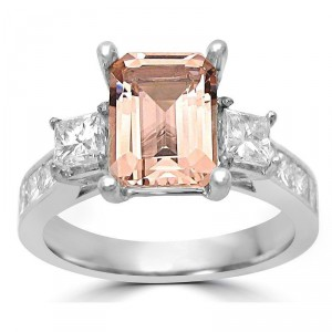 White Gold Morganite and 1 1/10ct TDW Diamond Three Stone Engagement Ring - Handcrafted By Name My Rings™