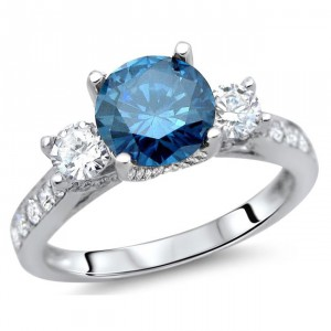 White Gold 1 1/2 ct Blue and White Diamond Engagement Ring - Handcrafted By Name My Rings™