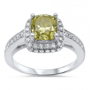 White Gold 1 1/2ct TDW Fancy Yellow Diamond Halo Engagement Ring - Handcrafted By Name My Rings™