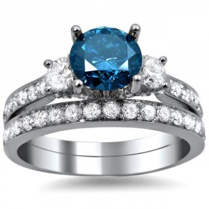 White Gold 2 1/6ct Blue and White Diamond Engagement Bridal Ring Set - Handcrafted By Name My Rings™