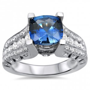White Gold 2ct TGW Cushion-cut Sapphire Diamond Engagement Ring - Handcrafted By Name My Rings™