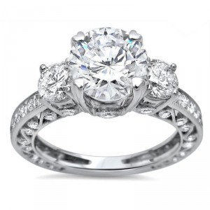 White Gold Moissanite and 1ct TDW White Diamond Engagement Ring - Handcrafted By Name My Rings™