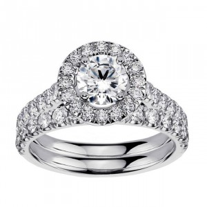 Platinum 2 3/5ct TDW Diamond Engagement Ring Bridal Set - Handcrafted By Name My Rings™
