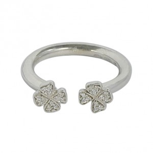 Platinum Double Shamrock Ring With Forever Brilliant Moissanite - Handcrafted By Name My Rings™