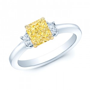 Platinum and Gold 1 1/10ct GIA-certified Fancy Intense Yellow Diamond Engagement Ring - Handcrafted By Name My Rings™