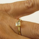 Small Square Diamond Ring, Square Diamond Engagement Ring Gold Geometric Ring, Stack Solitaire Ring, Engagement - Handcrafted By Name My Rings™