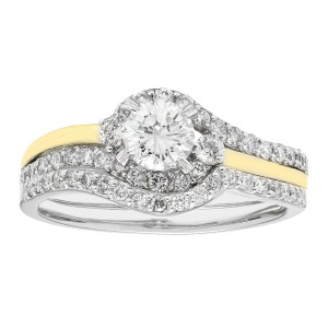 Gold 1-ct TDW H-I,I1 IGL Certified Round-cut Bridal Set - Handcrafted By Name My Rings™