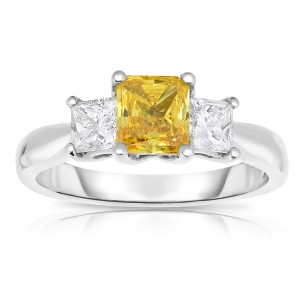 White Gold 1 5/8 ct TW Princess-cut Lab-Grown 3-stone Diamond Ring - Handcrafted By Name My Rings™