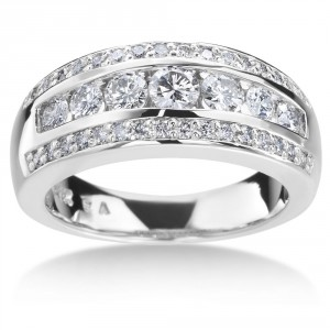 White Gold 1ct TDW 3-row Diamond Ring - Handcrafted By Name My Rings™