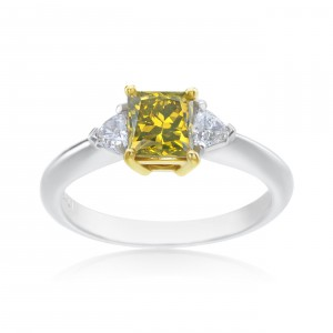 Platinum and Gold 1 1/3ct TDW Princess-cut Yellow Diamond 3-stone Ring - Handcrafted By Name My Rings™